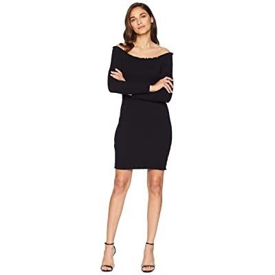 Bardot Off Shoulder Long Sleeve Dress (Black) Women
