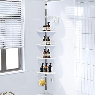 Homemaxs コーナーシャワーキャディ 304ステンレススチール シャワーキャディ テンションポール より丈夫 4段調節可能 バスルームシェルフ アップグレードコーン 滑り止めシリコンマット バスルームで安定