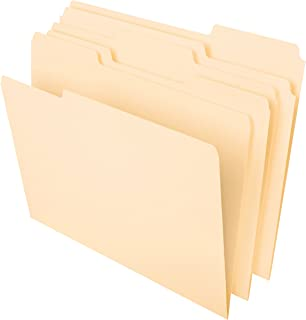 "Pendaflex File Folders, Letter Size, 8-1/2"" x 11"", Classic Manila, 1/3-Cut Tabs in Left, Right, Center Positions, 100 Per ..."