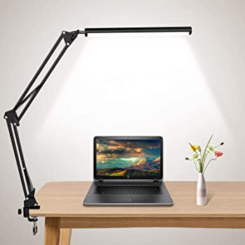 LED Desk Lamp, Swing Arm Desk Light with Clamp, 10W Eye-Caring Table Lamp, Desk Lamps for Home,Office,Work,Study,Reading,Drawing, 3 Lighting Modes & 9 Adjustable Brightness Levels