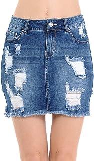 Wax Women's Juniors Vintage Casual Distressed A-Line Denim Short Skirt
