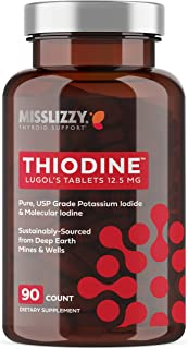 Thiodine Lugols Iodine Supplement 12.5mg, Boost Energy, Immune System, Focus, Natural Easy-to-Swallow Tablets, 90 Tablets