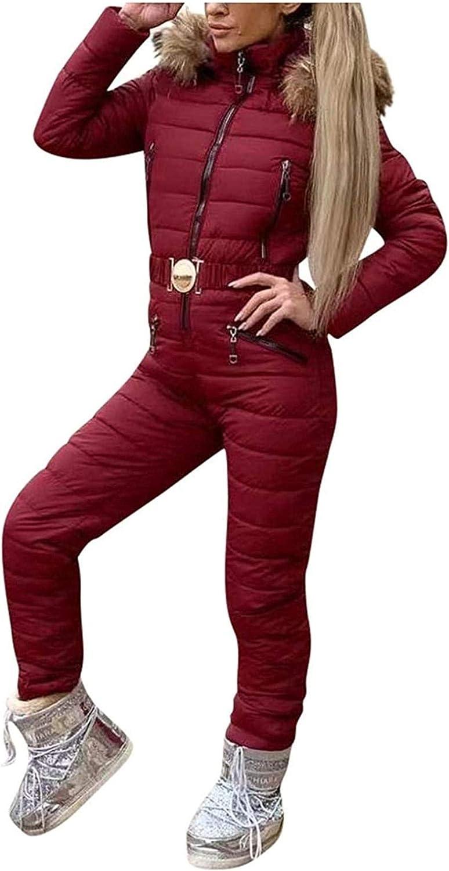 Women Winter Onesies Ski Jumpsuit Outdoor Sports Snowsuit Faux Fur Collar Coat Jumpsuit with Hoodies Windproof
