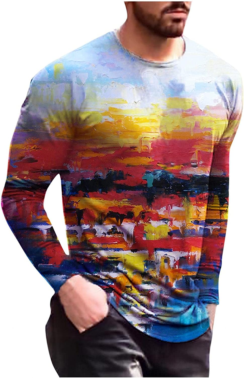 Aayomet Long Sleeve Tee Shirts for Men Vintage Abstract Printed Shirts Slim Fit O-Neck Casual Mens T-Shirts