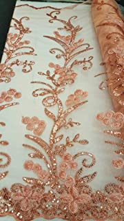 Rose Gold Embroidered lace Sequin Floral Flowers Ribbon on mesh Fabric Sold by The Yard Gown Quinceañera Bridal Evening Dress Decoration