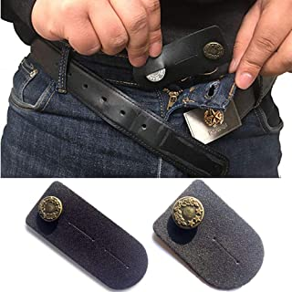 Juego de 2 extensores de cintura para hombre o mujer (negro) con botón de bronce para pantalones vaqueros, pantalones, faldas o pantalones cortos