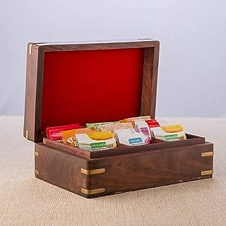Rusticity Wooden Spice Storage Box, Kitchen Storage Box, Tea Bag Box Organizer, Decorative Box, Multipurpose Storage Chest, Kitchen Storage Box with 9 Compartment  Handmade Storage Box  (9x6 in)