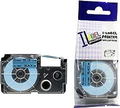 LM Tapes - Casio KL-7200 12mm Black on Blue Compatible Label Tape for Casio KL7200 EZ Label Printer