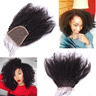 Nicewig 100% Raw Remy Virgin Mongolian 4b 4c Afro Kinky Curly Human Hair Lace Closure with baby hair 4