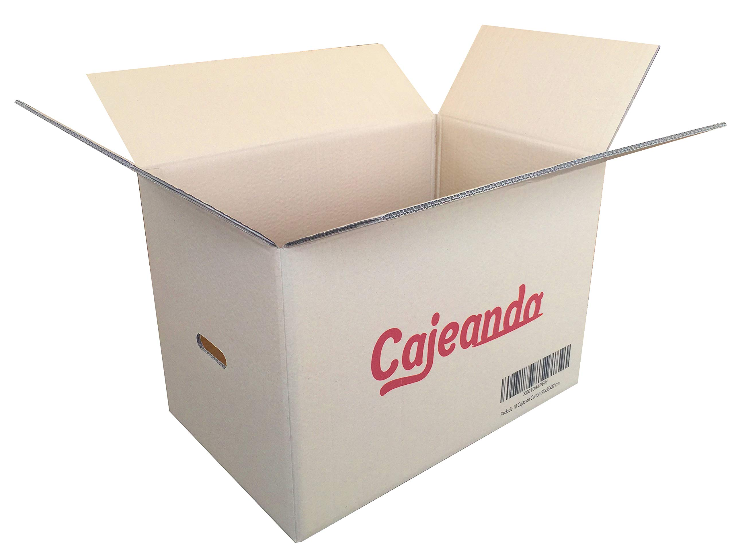 Cajeando | Pack de 10 Cajas de Cartón con Asas | Tamaño 55 x 35 x ...