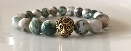 Fidelis Collection - Green and White Bark Jasper Gemstone Bead and Pewter Lion Head Stretch Bracelet