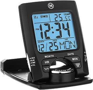 Marathon CL030023BK Travel Alarm Clock with Calendar & Temperature - Battery Included