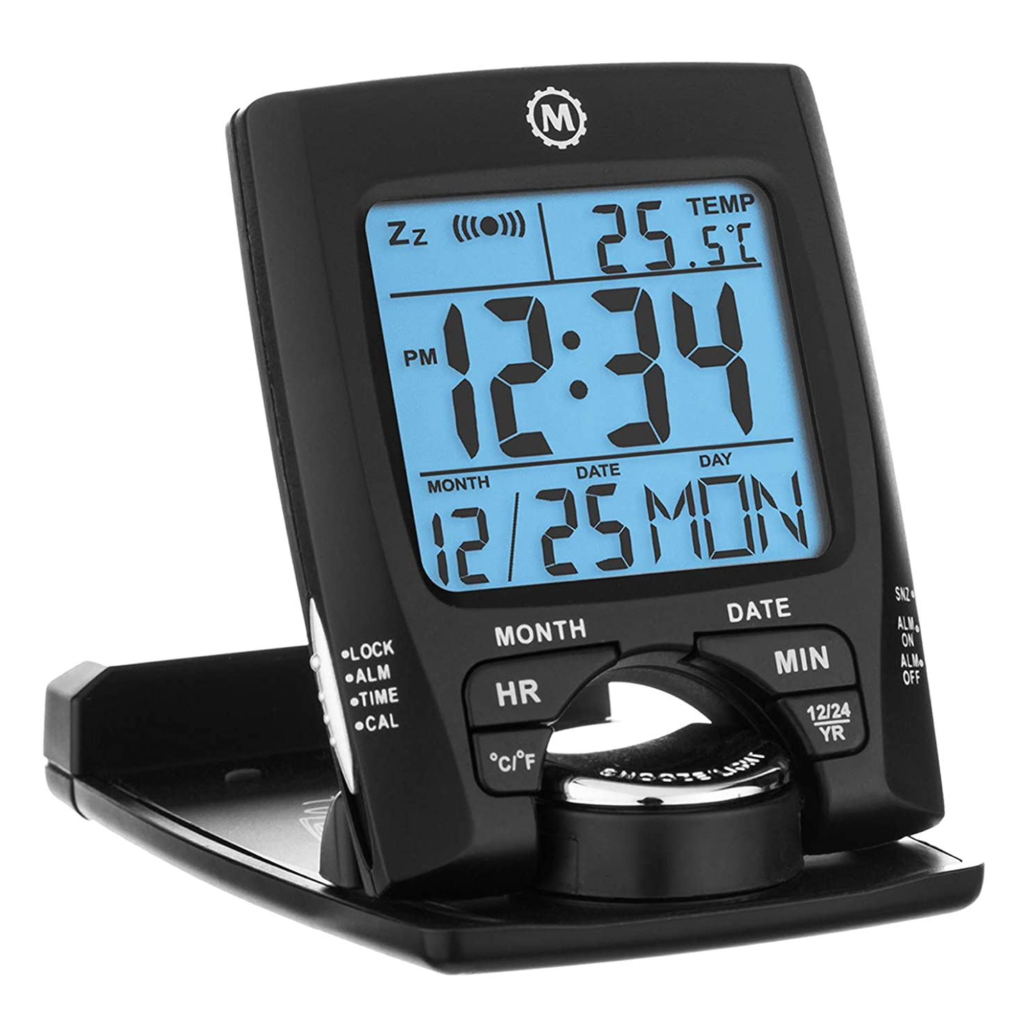 Marathon CL030023BK Travel Alarm Clock with Calendar & Temperature - Battery Included