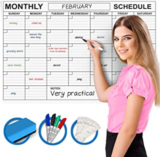 """Large Dry Erase Monthly Wall Calendar 36"""" x 24"""" Big Reusable Schedule Planner Includes 4 Markers 1 Eraser and Mounting Tape"""