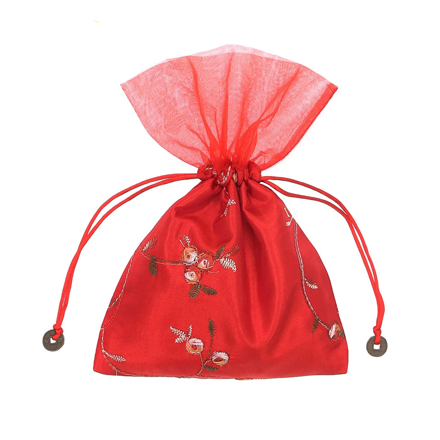 SumDirect 5Pcs 6X9 inches Brocade Organza Jewelry Pouch Bags,Drawstring Gift Bags (Red)