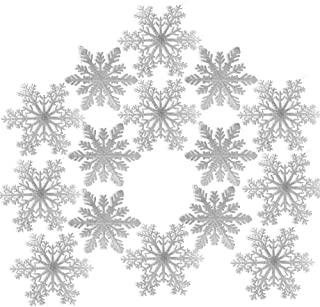 BANBERRY DESIGNS Large Snowflakes - Set of 15 - Silver Glittered Snowflakes - Christmas Snowflake Ornaments Approximately 12