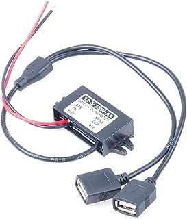 KNACRO 5V 3A USB Power Supply DC 12V to 5V Step Down Converter 8-22V Step Down to 5V 3A 15W Dual USB Female Socket