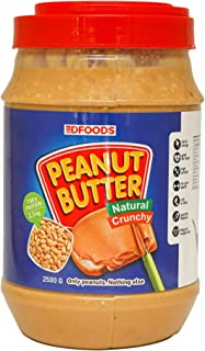 DFOODS All Natural Peanut Butter (Crunchy) (2.5kg) | Unsweetened | 700g Protein | Non GMO | Gluten Free | Vegan | Choleste...