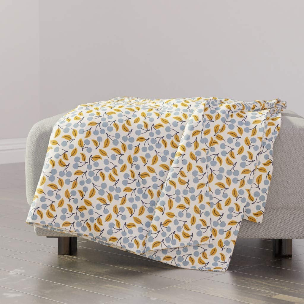 Roostery Spoonflower New products Deluxe world's highest quality popular Throw Blanket Nature Silhouette Leaf Simpl