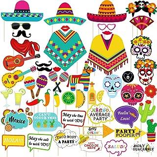 Supla 52 Pack Fiesta Party Decorations Photo Booth Props Selfie Props Sugar Skull Llama Poncho Sombrero Margarita Chili Lemon Cactus Maraca for Mexican Bachelorette Taco Cinco De Mayo Party Supplies