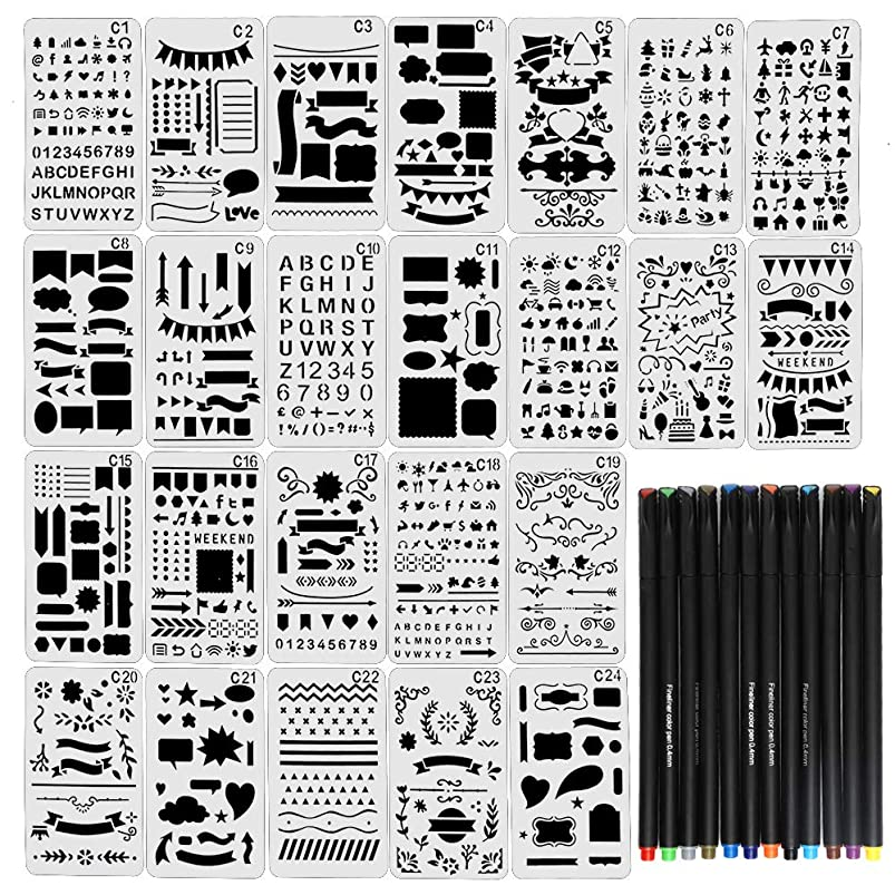 JPSOR Stencil Supplies, 24 Painting Stencils and 12 Colored Fineliner Pens,DIY Drawing Templates Plastic Planner Stencils for Journal, Notebook, Diary, Scrapbook uyaxbwad373889