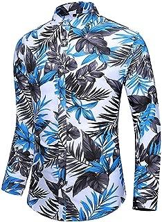 YANYUN Printed Shirt for Man,Men's Shirts Long Sleeve Button Down Hawaiian T-Shirt Top Blouse