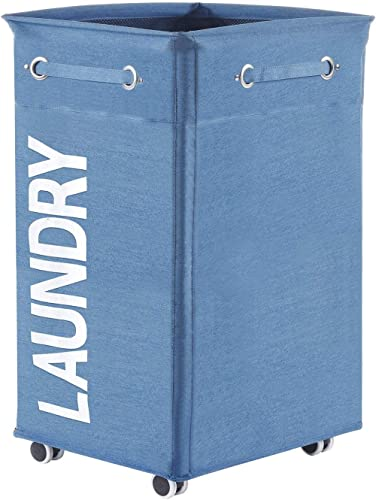 ALINK Collapsible Laundry Hamper with Wheels, Waterproof Large Rolling Clothes Hamper Basket for Dirty Clothes Storag...