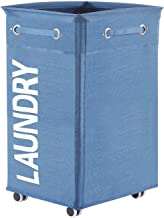 ALINK Collapsible Laundry Hamper with Wheels, Waterproof Large Rolling Clothes Hamper Basket for Dirty Clothes Storage Bin