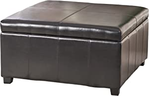 Christopher Knight Home Living Berkeley Brown Leather Square Storage Ottoman, Espresso