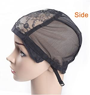 2 pcs Wig Caps with Adjustable Strap for Making Wigs Black Lace Net for Wigs Average Size make Your Own Wig (Lace Wig Caps)