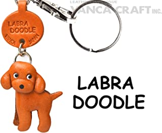 Labradoodle Leather Dog Small Keychain VANCA CRAFT-Collectible Keyring Charm Pendant Made in Japan