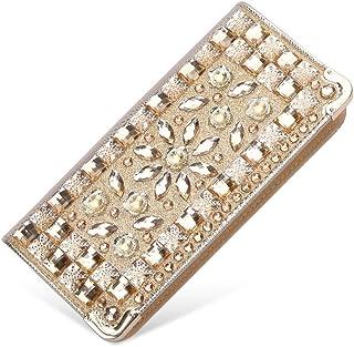 女性用長財布クラッチバッグレディース長財布 女性の高級クラッチ財布シングルショルダーバッグクリスタル宴会ハンドバッグカジュアルレディース財布 (Color : Gold)