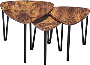 Industrial Nesting-Tables Living Room Coffee Table Sets of 3 Stacking End Side Tables Nightstands Vintage Night Tables for Bedroom Home Office, Vintage Brown