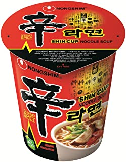 NongShim Shin Cup Noodle Soup, Gourmet Spicy, 2.64 Ounce (Pack of 12)