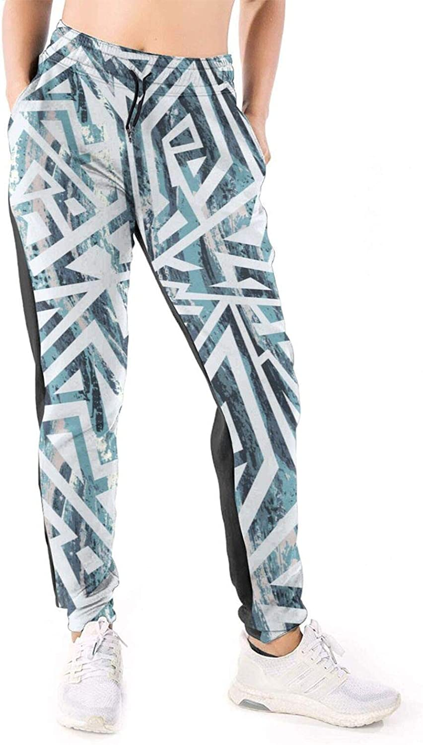 LONEA Women Joggers Pants Blue Color Tribal Grunge Pattern Athletic Sweatpants with Pockets Casual Trousers Baggy