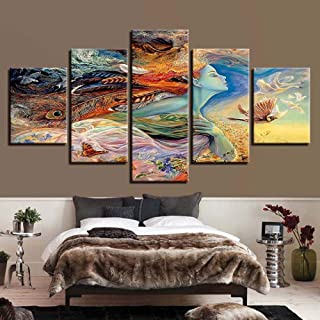 Simple decorative painting 5 fight abstract feather woman inkjet home beauty salon oil painting