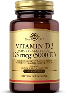 Solgar Vitamin D3 (Cholecalciferol) 125 MCG (5000 IU), 100 Softgels - Helps Maintain Healthy Bones & Teeth - Immune System...