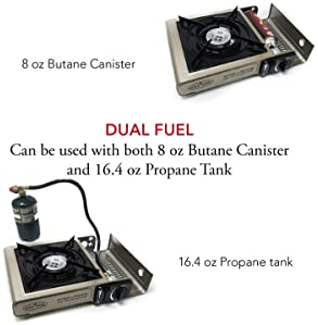 GasOne Propane or Butane Stove GS-3400P Dual Fuel Portable Camping and Backpacking Gas Stove Burner with Carrying Cas...