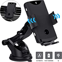 TOPK Wireless Car Charger Mount,Qi 10W 7.5W Fast Charging Car Phone Holder For Dashboard,Air Vent,Windshield,Compatible iPhone X/XR/XS/XS MAX/8/8 Puls,Samsung S10/S10+/S9/S8/S7,Note 9/8,Google Pixel 3