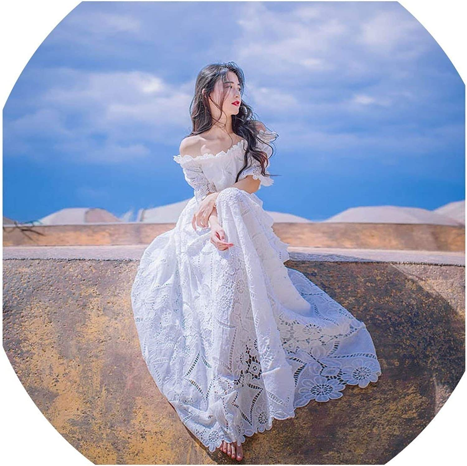 EasySEH Elegant Slim Bodycon Sexy Beach Runway Long Maxi Lace White Off The Shoulder Hollow Out Dress