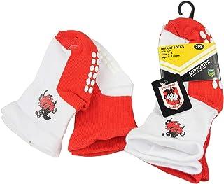 NRL Baby Boys' Dragons Infant Non-Slip Crew Socks 2 Pair
