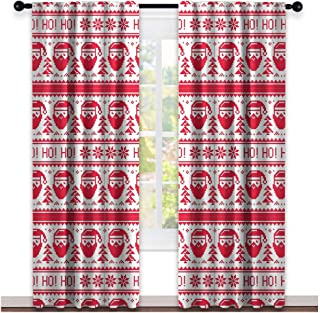 AFGG Chrismas Curtains Nordic Ho Ho Ho Christmas Illustration with Santa with Full Beard Cross Stitch Pattern Rod Pocket Window Curtains for Party(W54 X L72 Inch)