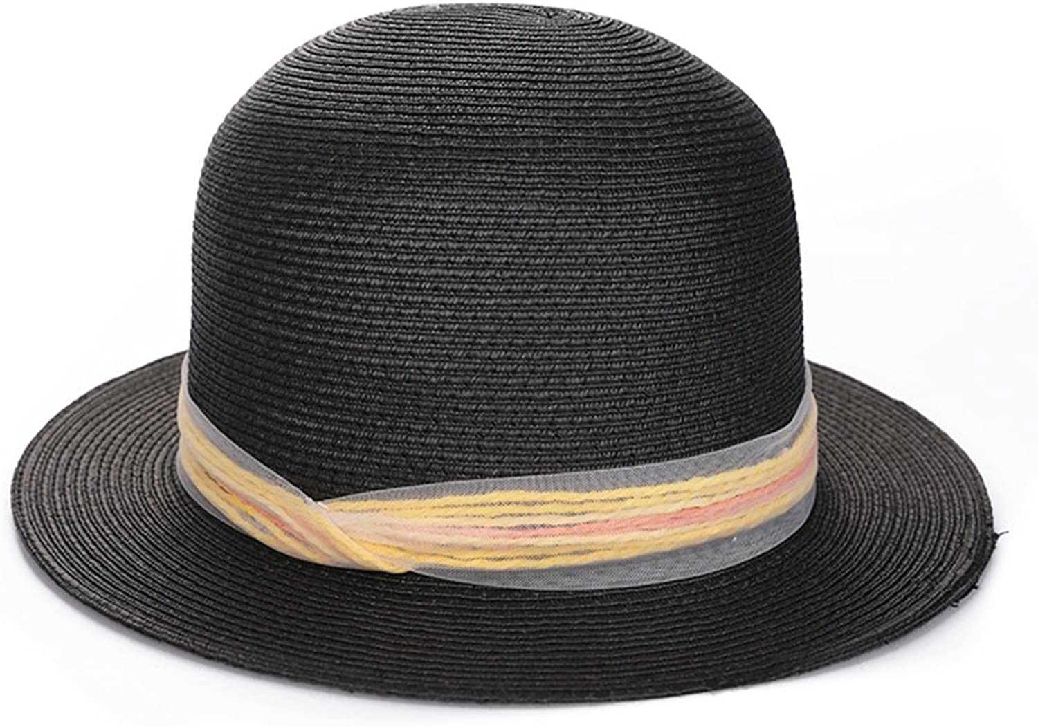 LBY Spring and Summer Hats, Wide Beaches, Beaches, Sun Hats, Collapsible Sun Hats, Small Fresh Fashion, Shopping, Straw Hats Sun Hats (color   Black, Size   M(5658cm))