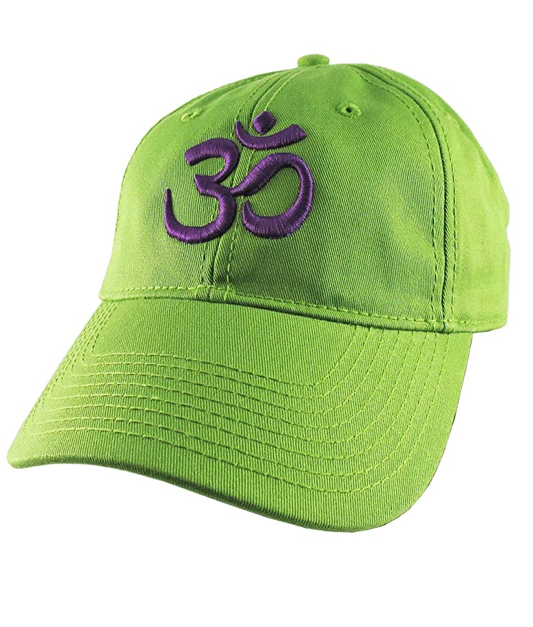 OM Spiritual Symbol Yoga Lifestyle 3D Puff Purple Embroidery Design on an Adjustable Lime Green Unstructured Baseball Cap Dad Hat
