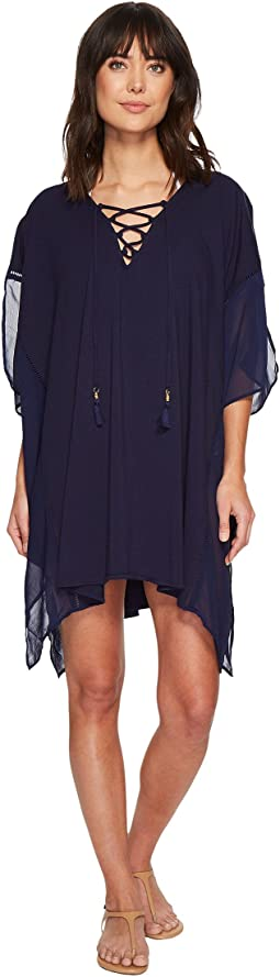 Cotton Modal Lace-Up Tunic Cover-Up