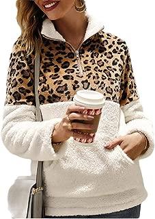 Women Long Sleeve Sherpa Sweatshirt Leopard Print Fuzzy Fleece Pullover Jacket Outwear Coat