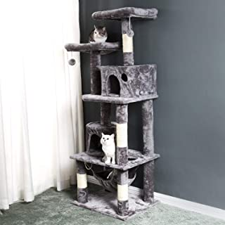 vapeonly Cat Tree Condo Furniture Luxury Cat Tower with Sisal-Covered Scratching Posts, 2 Condos Perches and Hammock, Climbing Activity Play House for Kitty Kitten Pet