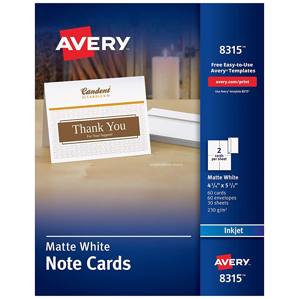 Avery Printable Note Cards, Inkjet Printers, 60 Cards and Envelopes, 4.25 x 5.5, Heavyweight (8315), White hviwoin86551921