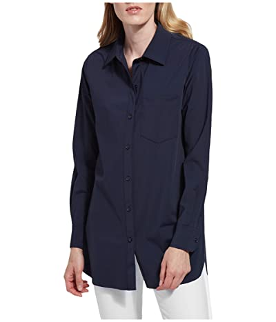 Lysse Schiffer Stretch Microfiber Button Down (True Navy) Women