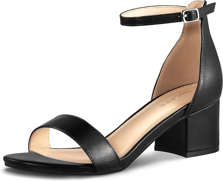 Women's Open Toe Ankle Strap Low Block Chunky Heels Sandals